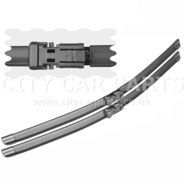 """Pair Aero-D Flat Front Windscreen Wiper Blades Set 24/"""" 16/"""" For VW Polo 6R 09-On"""