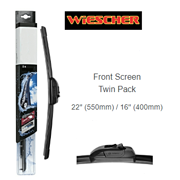 "WIESCHER FLAT BLADE FRONT SCREEN TWIN PACK 22"" (550MM) / 16"" (400MM)"